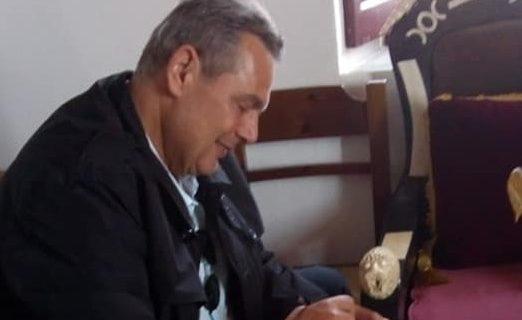 O Πάνος Καμμένος στην Αποκαθήλωση στο Μοναστήρι της Παναγιάς της Χοζοβιώτισσας